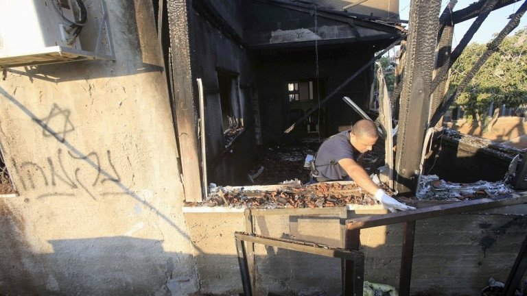 A Palestinian toddler has died in an arson attack in the West Bank, suspected to have been carried out by Jewish settlers, Israeli police say.