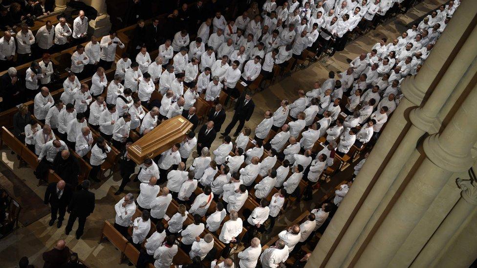 Chefs en el funeral de Bocuse en la catedral de Lyon.