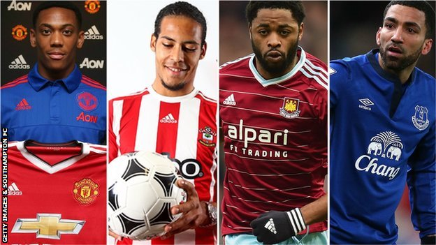 Anthony Martial, Virgil van Dijk, Alex Song and Aaron Lennon