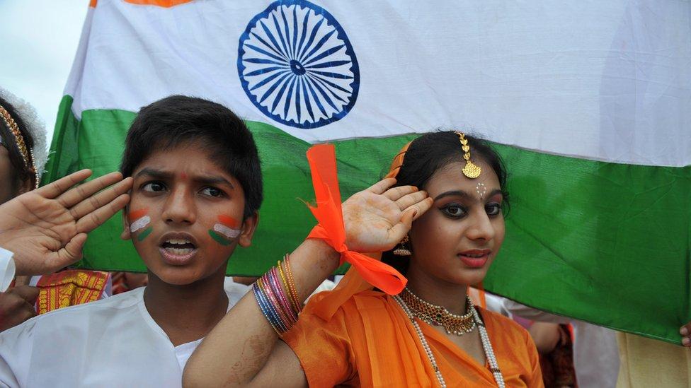印度兒童在唱國歌