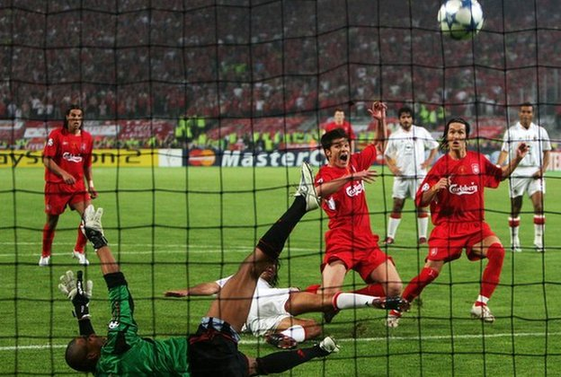 Xabi Alonso scores for Liverpool in the 2005 Champions League final against AC Milan