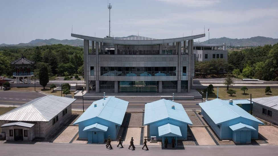 A photo taken on 2 June 2017 shows a general view of the military demarcation line separating North and South Korea, from the northern side of the Joint Security Area (JSA) near Kaesong on the North Korean side of the border.