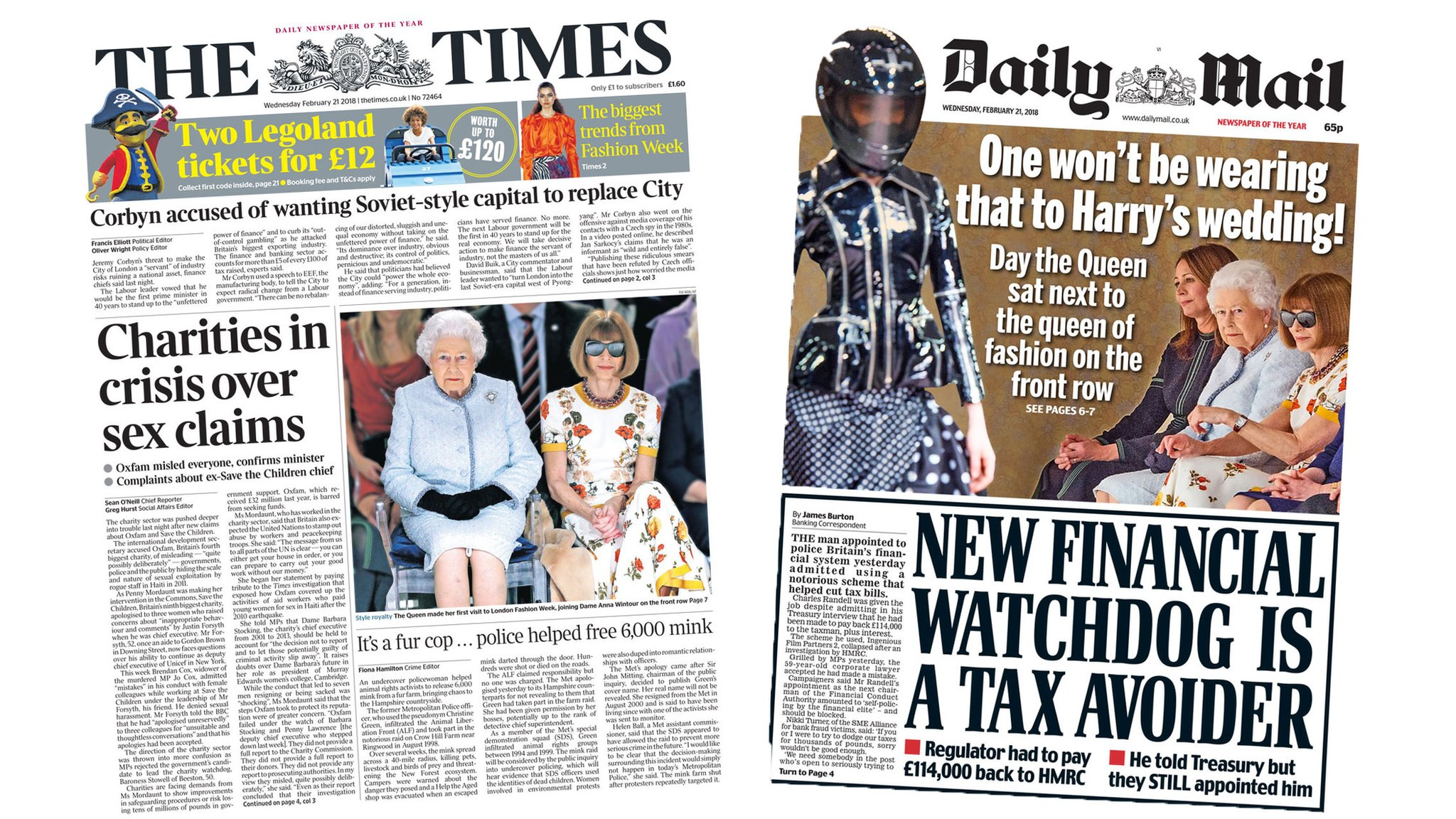 Newspaper headlines: Charity sex claims and 'Queen of fashion'