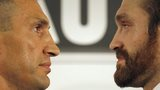 Wladimir Klitschko and Tyson Fury face off prior to their world heavyweight title fight