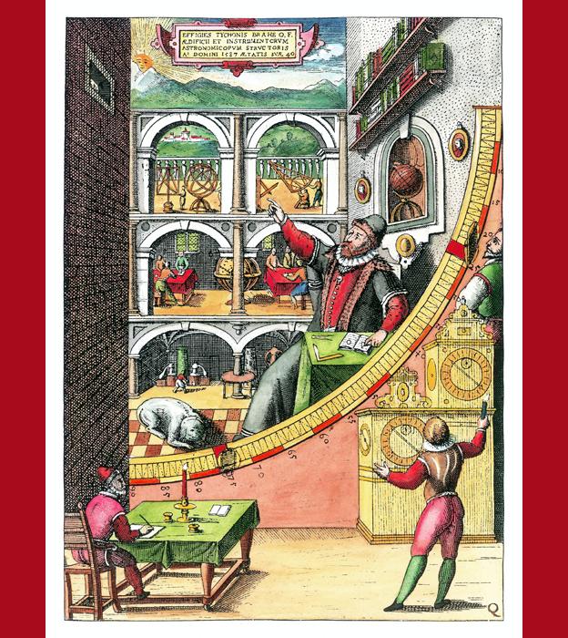 En este cuadrante mural, Tycho Brahe aparece en el centro señalando hacia el cielo. También hay empleados del observatorio midiendo la posición de una estrella: uno la ve por una pequeña ventana (arriba, izq.), otro registra el momento en que la ve (abajo, der.) mientras que otro (abajo, izq.) apunta los datos del evento.