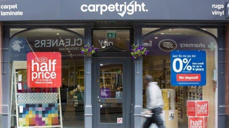 Carpetright shares crash on profit warning