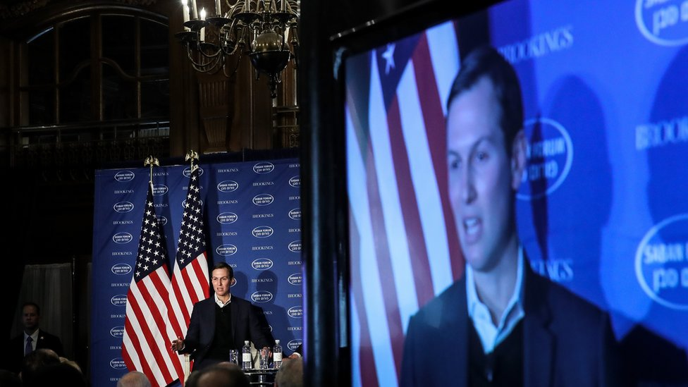 Adviser to President Trump, Jared Kushner, speaks during a conversation with Haim Saban at the Saban Forum, December 3, 2017 in Washington, DC