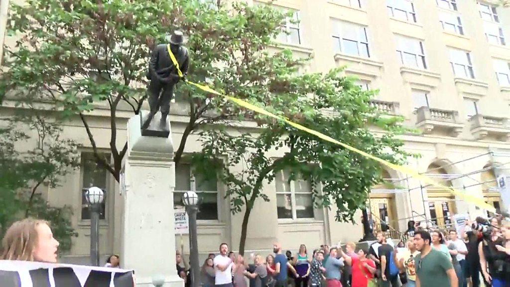Confederate statue pulled down in North Carolina