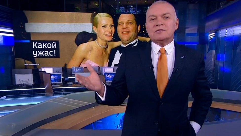 """""""¡Shock y horror!"""": la televisión estatal rusa criticó los alegatos de acoso sexual que han surgido en Estados Unidos en semanas recientes. (Foto: Rossiya 1)"""