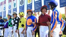 Winning jockey Wayne Lordan, third from right