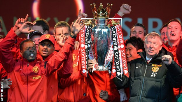 Manchester United with the Premier League trophy