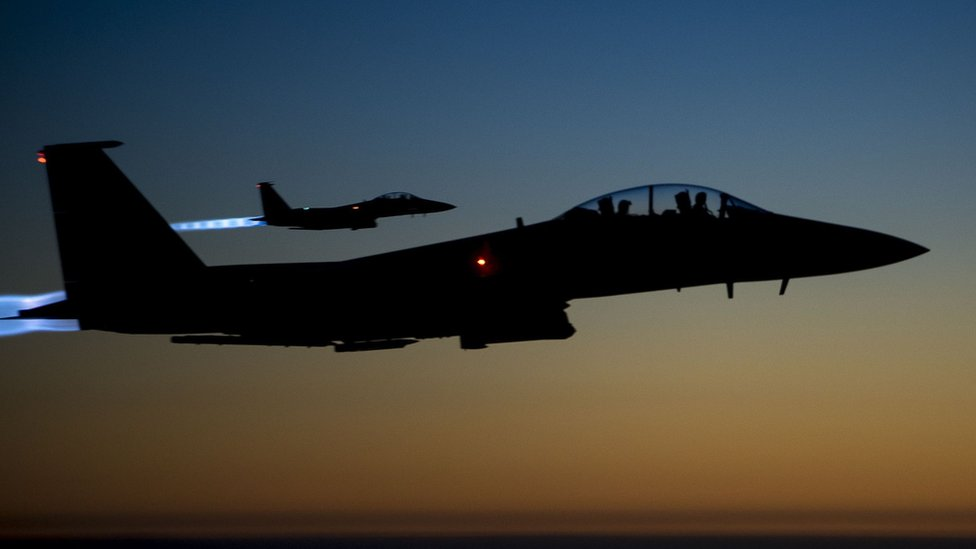 US Air Force F-15E Strike Eagles flying over northern Iraq on 23 September 2014 after conducting air strikes in Syria
