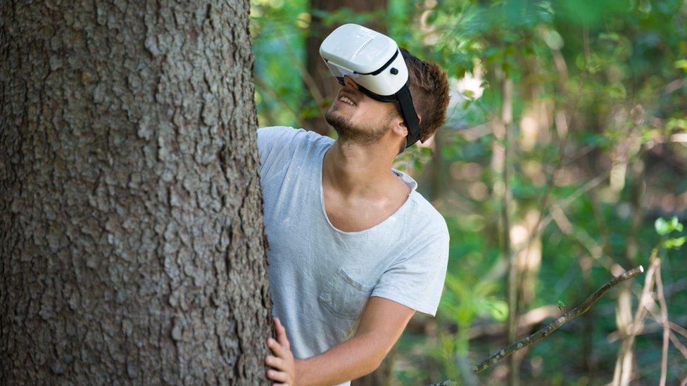 Hombre en bosque
