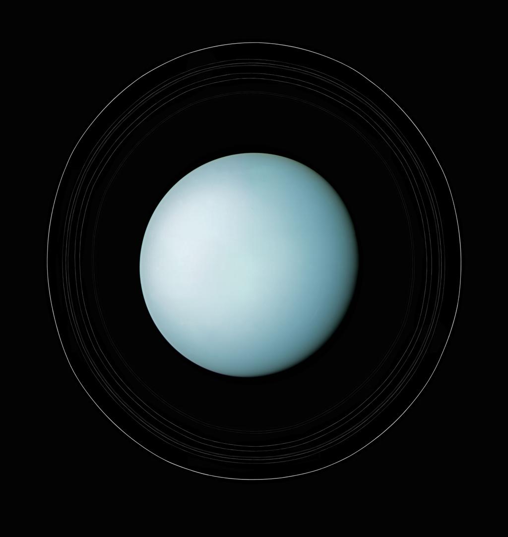 Uranus and its rings, 1986