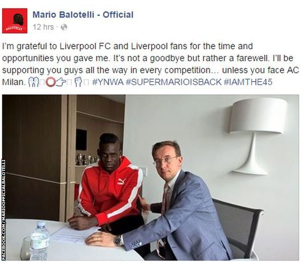Mario Balotelli on facebook