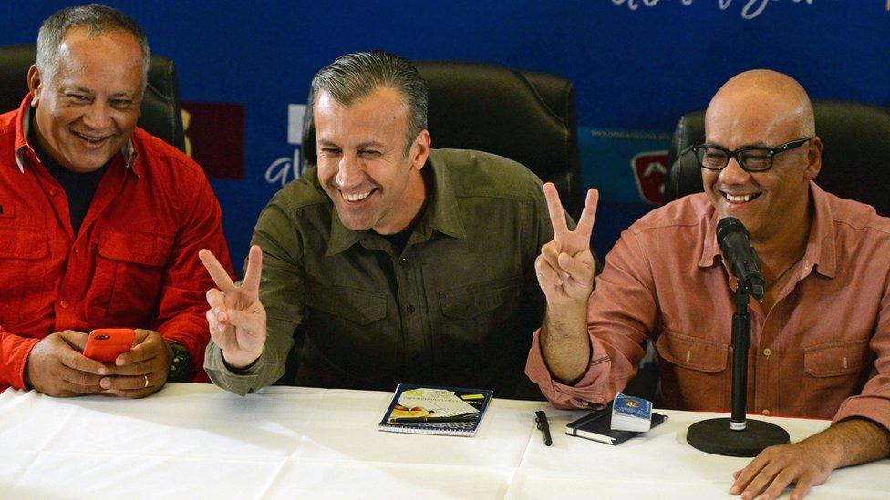 Diosdado Cabello, Tareck El Aissami y Jorge Rodríguez.