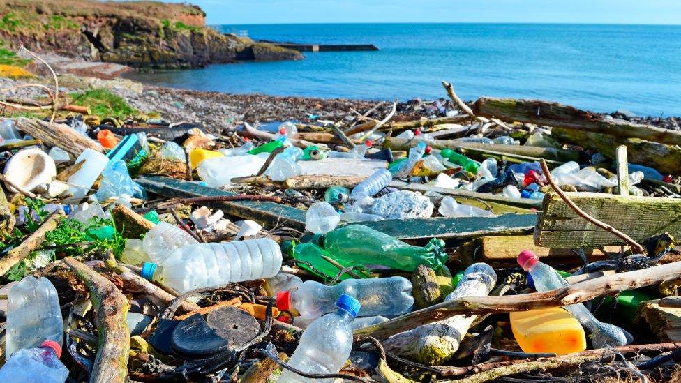 botellas en el mar