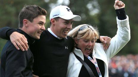 Matthew Fitzpatrick celebrates winning the British Masters