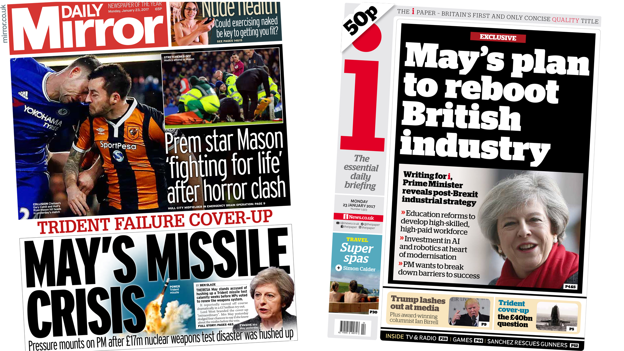 Newspaper headlines: May's 'missile crisis' over Trident failure