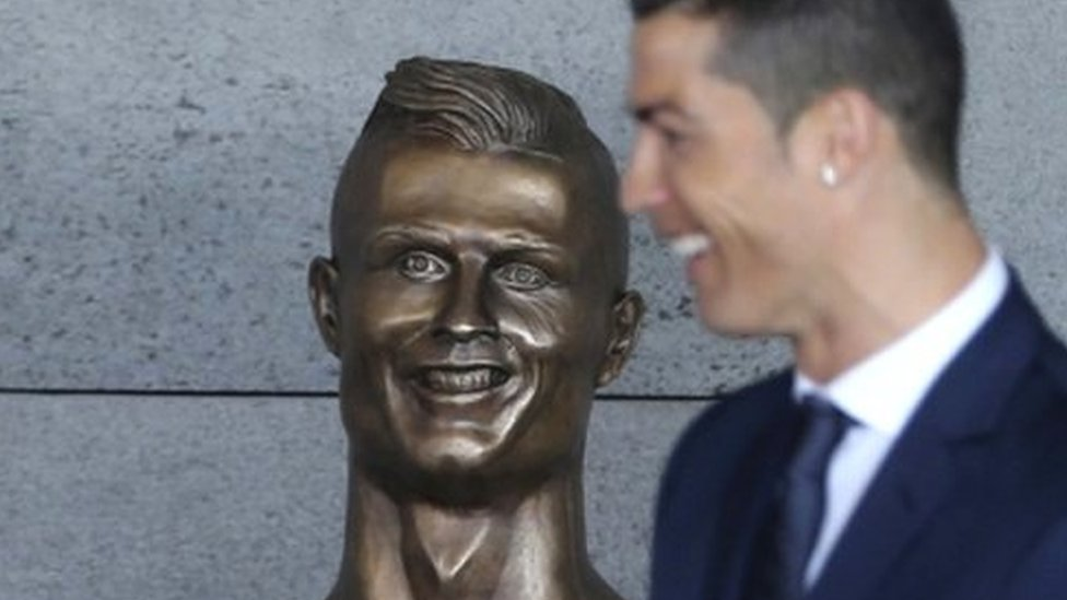 Bizarre Ronaldo statue unveiled - or is it Niall Quinn?