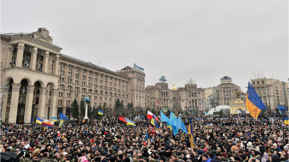A crowd gathered in Kiev's Independence Square