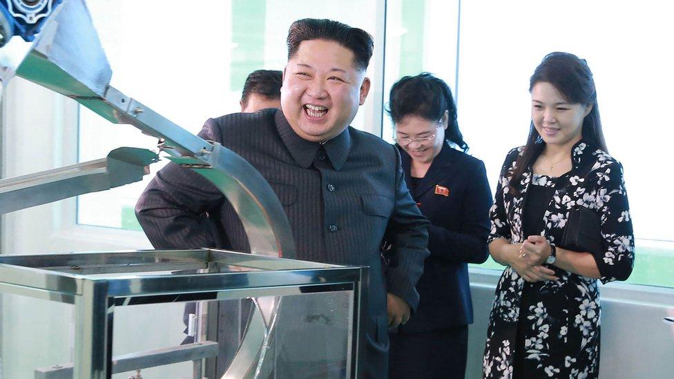 Ri Sol-ju siempre aparece en las fotografías con una dulce sonrisa, como cuando visitó con su marido una fábrica de cosméticos este mes de octubre.