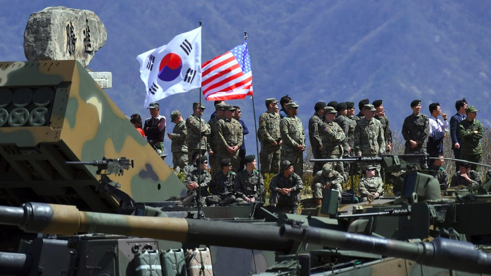 South Korea and US soldiers watch a joint live firing drill northeast of Seoul