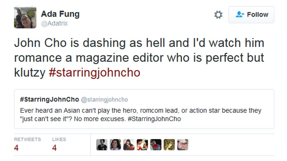 """Ad Fung tweets: """"John Cho is dashing as hell and I'd watch him romance a magazine editor who is perfect but klutzy #starringjohncho"""""""