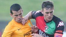 Viktor Pecovsky of Zilina in action against Glentoran's Marcus Kane