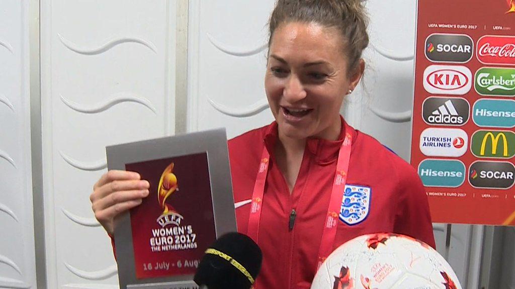 Women's Euro 2017: Jodie Taylor & Mark Sampson react to England's 6-0 win over Scotland