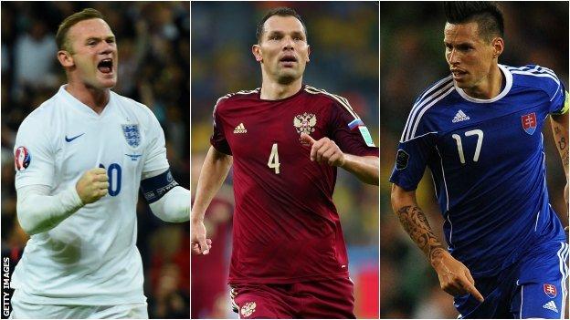 Wayne Rooney, Sergei Ignashevich and Marek Hamsik