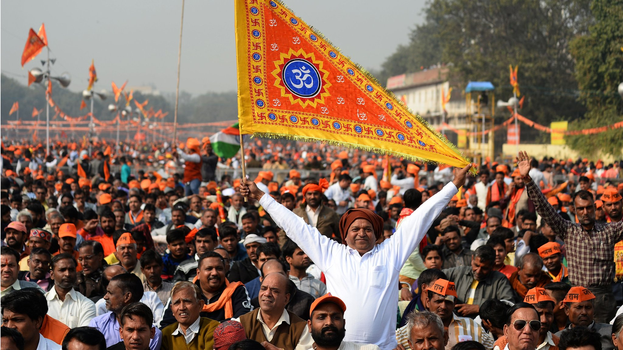 Ayodhya: Thousands rally in Delhi over disputed religious site