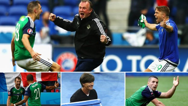 Michael O'Neill, Conor Washington, Niall McGinn, Josh Magennis and Joachim Low