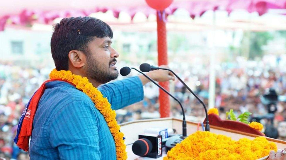 انڈیا پارلیمانی انتخابات: مودی کو چیلنج کرنے والا نوجوان کنہیا کمار