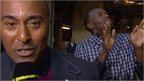 Usain Bolt busts some moves behind Colin Jackson