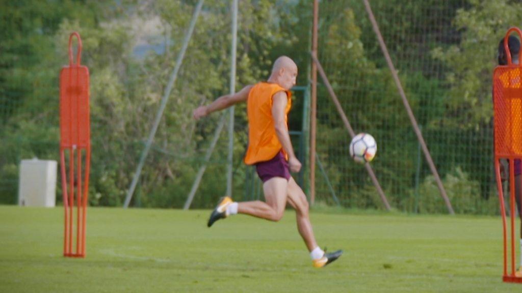 Pablo Zabaleta scores past Joe Hart in West Ham training
