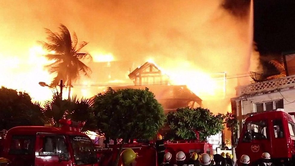 Fire rages through iconic Myanmar hotel