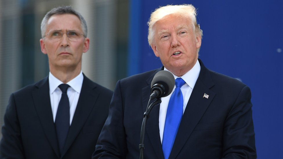 Donald Trump tells Nato allies to pay up at Brussels talks