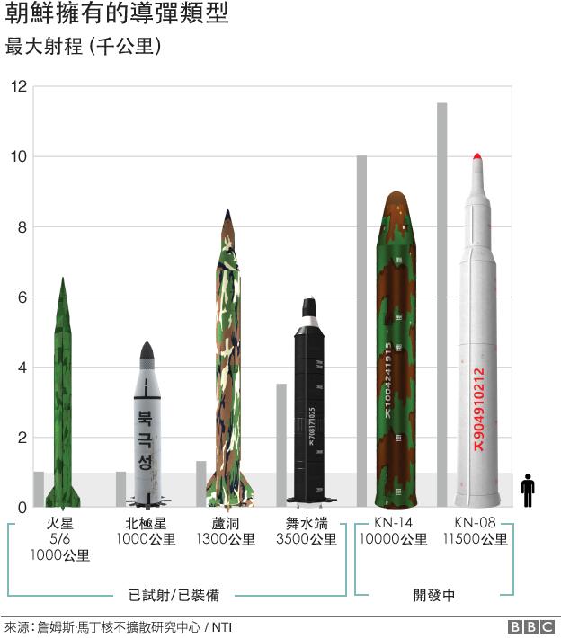圖表:朝鮮擁有的導彈類型
