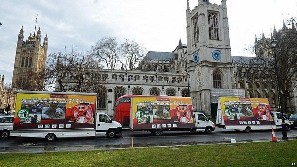 مركبات تحمل لافتات معارضة للزيارة في شوارع لندن