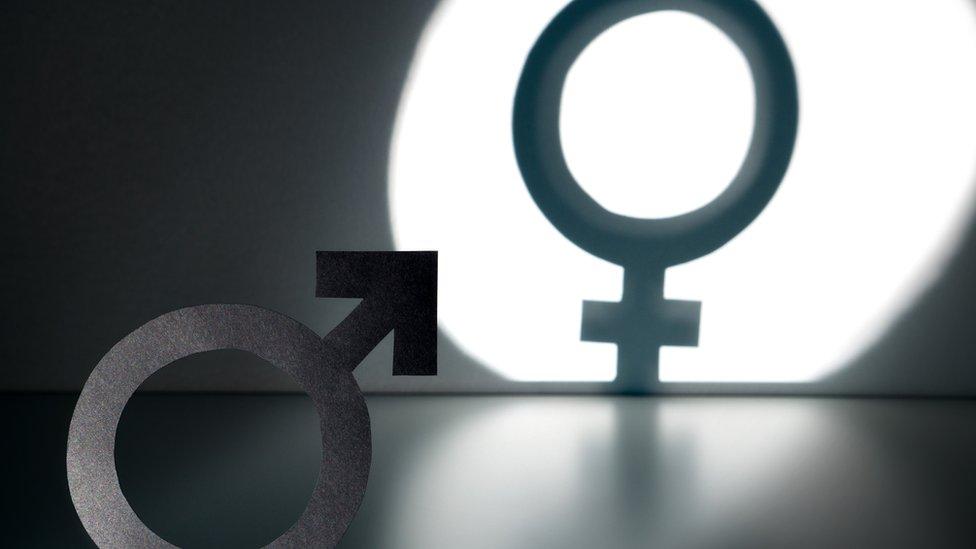 Símbolos de los géneros masculino y femenino.