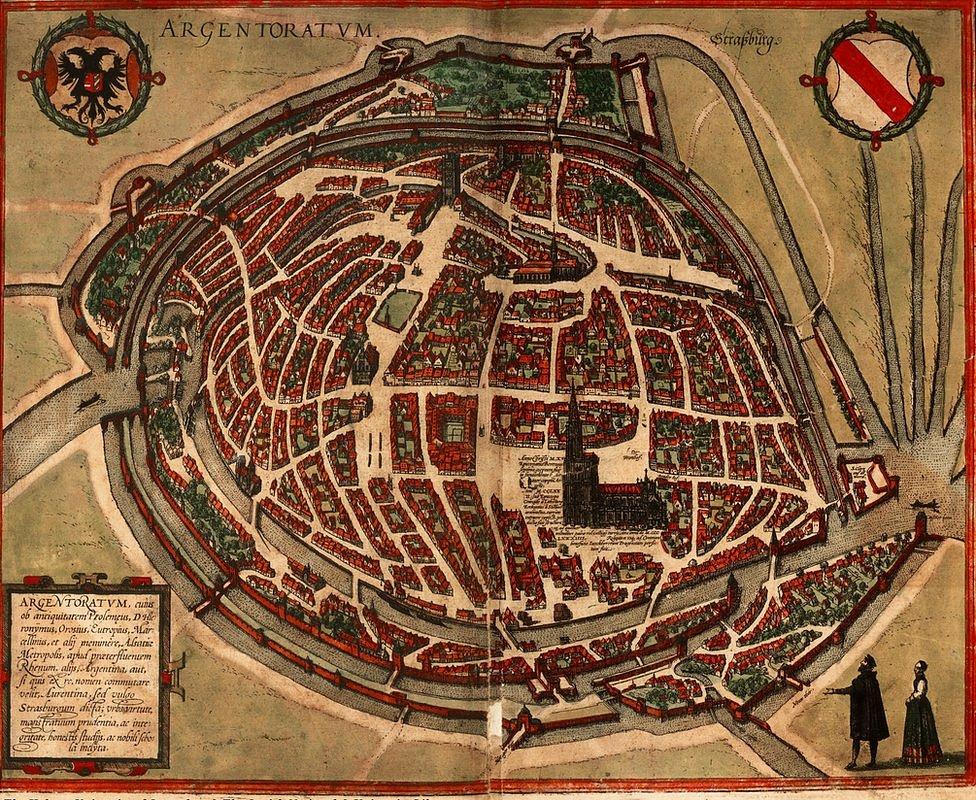 En aquella época, los pobres de Estrasburgo estaban en una situación desesperada. (Argentoratum Strassburg, publicado por primera vez en la Cosmografía de Munster edición de 1550. ©Universidad Hebrea de Jerusalén y Biblioteca Nacional de Israel)