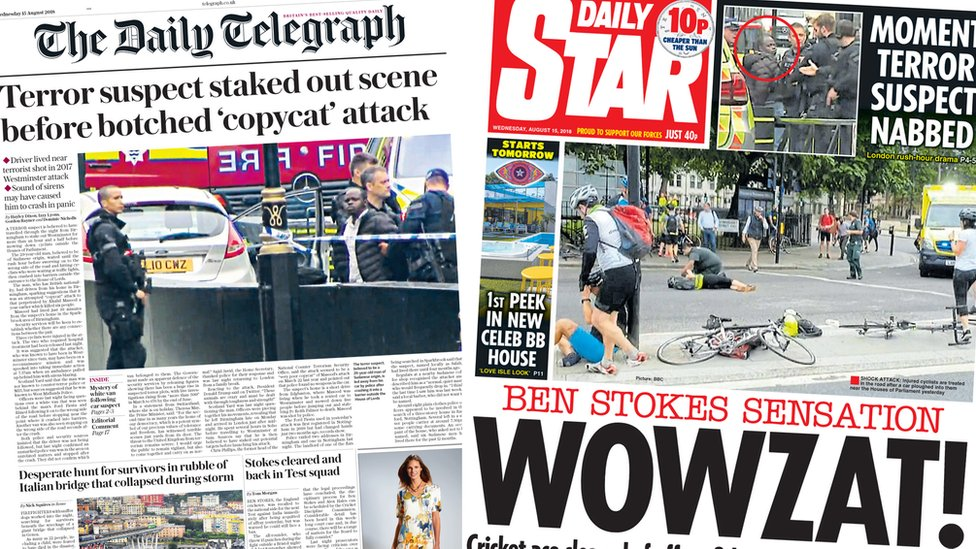 The Papers: Praise for terror police and cleared Stokes