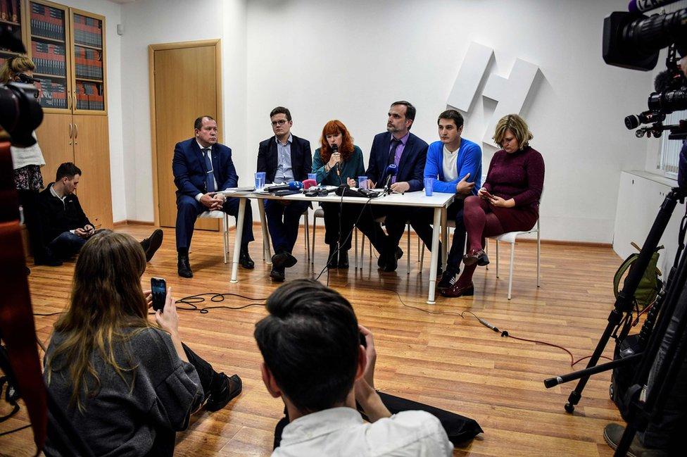 Maxim Lapunov, de 30 años, durante una conferencia de prensa en Moscú el 16 de octubre de 2017
