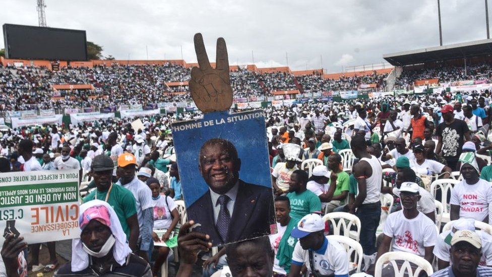 Supporters of Laurent Gbagbo at a stadium in Abidjan, Ivory Coast, October 2020