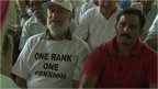 Retired Indian soldier wearing t-shirt with 'One Rank, One Pension' slogan