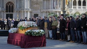 The coffin containing the body of Valeria Solesin is seen during the state funeral in St. Mark's Square in Venice