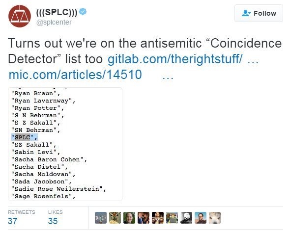It wasn't just Jewish journalists who were included on the Coincidence Detector list, the Southern Poverty Law Centre found its name included on the list.