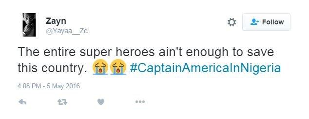 Sceptical Captain America in Nigeria tweet