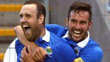 Guy Bates and Andrew Waterworth scored Linfield's goals against NSI Runavik